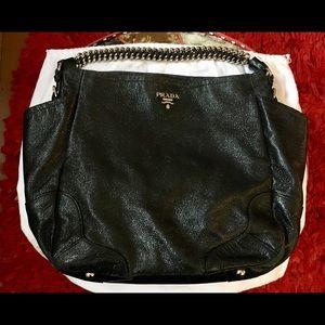 Prada Cervo Lux Nero Chain Shoulder Bag
